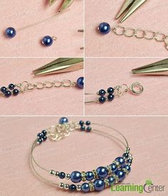finish this simple blue pearl bracelet