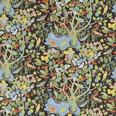Paradiset is a wallpaper that contains a constellation of flowers, fruits, butterflies, birds and fishes. A blooming paradise tree is full of fruit. - Wallpaper Sample Paradiset, Paper, Paradiset, Black, Josef Frank