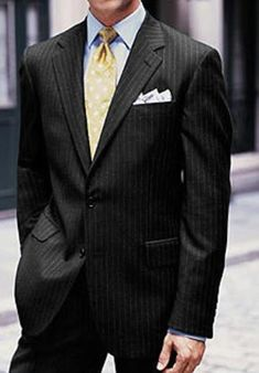 SKU#NK9911 2 or 3 Button Super 150's Wool Black Multi-Stripe Suit $289 Mens Discount Suits By Style and Quality 2 Button Suits