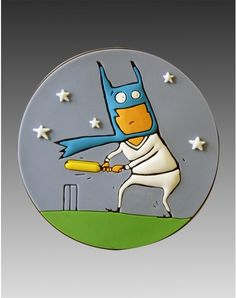 Brucottam Wayneumm always wanted to be a crime busting superhero. But he had no money for a supercar, or a fancy cave or an English butler. He only had money for a mask.  So he does the next best thing. Play cricket. and punishes bad bowlers. #chimp #chimpwear #design #art #magnets #fridgemagnets #quirky #india #magnet #Batsman