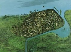 Reconstruction of Dublin c. 1000 AD. © The National Museum of Ireland.