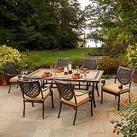 Bordeaux Patio Dining Set With Premium Sunbrella® Fabric   7 Pcs