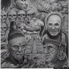 Aztec Charcoal Drawing by Mike Avena