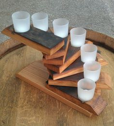 Spiral votive candle stand. Wine barrel stave ends.
