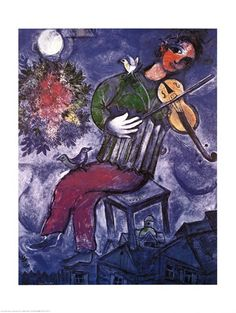 Blue Violinist, Art Print by Marc Chagall