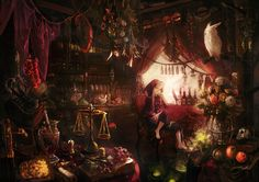 Selling witch s poison Picture big by Chibi S chibi s Art Anime scenery Fantasy shop