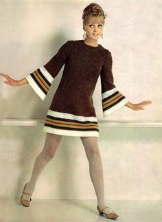 Knit fashion for Spinnerin, 1967. the short skirt, long sleeves and colored stockings.