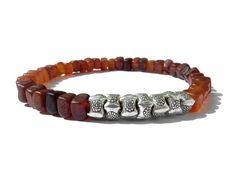 golden amber horn nuggets oxidized Hill Tribe sterling silver men bracelet, stretch bracelet for men, mens bracelet,gift for him Stretch Bracelets, Bracelets For Men, Simple Jewelry, Silver Man, Bracelet Sizes, Silver Beads, Bracelet Making, Artisan Jewelry, Horns