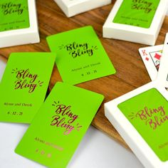 Make your wedding day game playing personal with these standard size coated playing cards personalized with your choice of wedding design and two lines of custom print in 11 foil imprint color options. Add a deck of cards to hotel welcome bags to complete your custom look or use them as the perfect favor that entertains by placing a deck at each place setting, or stack them on your favor table for easy access. Custom Printed Playing Cards, Personalized Playing Cards, Wedding Gift Bags, Wedding Cards, Wedding Favors, Small Thank You Gift, Hotel Welcome Bags, Foil Stamping, Wedding Designs
