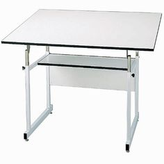 WorkMaster FourPost Drafting Table with White Base White Top/White Base by Alvin. $264.41. Alvin WorkMaster collection fourpost drafting table is constructed with a 11/2'' x 11/2'' heavygauge white steel frame and a warpfree white laminate tabletop.Table has a 36''x48'' top that adjusts easily, from front or rear, for a comfortable work angle. Angle adjusts from 0 to 40 degrees. Height adjusts from 29'' to 46'' with top in horizontal position. One 12''x42'' storage shelf.Ships...