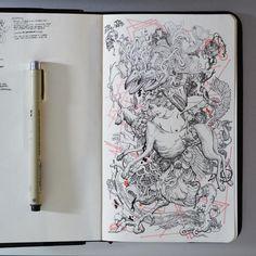 Breaking in a new sketchbook. #moleskine #sketchbook #partsofdrawings