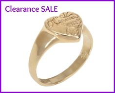 """CLEARANCE SALE, US Size 6, Small Heart Signet Ring with a """"Forever yours"""" inscription, 14K Gold plated, Statement Pinky Ring, Gift Idea"""