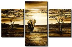 hand painted  wall art African grassland big  elephant decoration abstract  Landscape oil painting on canvas 3pcs/set mixorde-in Painting  Calligraphy from Home  Garden on Aliexpress.com $29.69