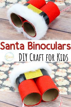 These DIY Santa binoculars made from recycled toilet paper rolls are a great Christmas craft for kids to make. Easy and fun for kids. christmas DIY Santa Binoculars: A Kid's Christmas Craft Daycare Crafts, Toddler Crafts, Preschool Crafts, Diy Crafts For Kids, Fun Crafts, Kids Diy, Craft Ideas, Kids Holiday Crafts, Handmade Kids Christmas Gifts