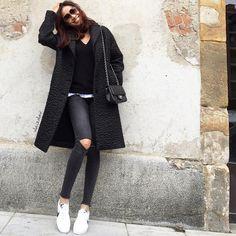 "Vola Udabe Randri on Instagram: ""Sporty chic ♣️ Follow me on Facebook. Link on bio #zara #zaradaily sweater + coat #americanvintage #marainkn tee #aninebing ripped jeans #nike sneakers #chanel bag #dita sunnies #olaizolav"""