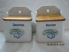 Flour and salt containers - at Grandmothers house! Salt Cellars, Spice Containers, Salt Box, Grandmothers, Canisters, Spoons, Finland, Stuff To Do, Decorative Boxes