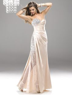 A-line Sweetheart Sleeveless Elastic Woven Satin Champagne Prom Dress With Beading #FJ149