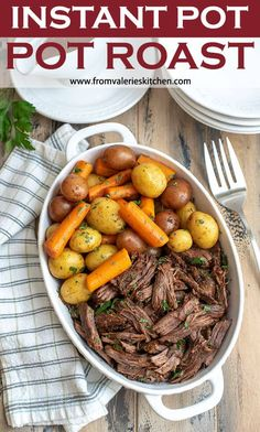 This tender Instant Pot Pot Roast with carrots and potatoes and a luscious, flavorful gravy is just what is in order for the cooler fall and winter months. (Personal note: sub red wine vinegar for rwine, and keep liquid to 1 cup total) Pot Roast Recipes, Beef Recipes, Cooking Recipes, Healthy Recipes, Recipies, Instant Pot Pot Roast, Instant Pot Dinner Recipes, Fall Dinner Recipes, Carne Asada