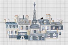 """""""toits de Paris"""" grille issue du livre """"Rues de Paris au point de croix"""" d' Anne Sohier-Fournel offerte sur le site PRIMA"""