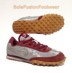9bbeefd3d Nike Waffle Racer Womens Running Trainers Silver red Size 4 Vtg SNEAKERS EU  36.5