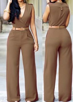 Button Decorated Dark Khaki High Waist Jumpsuits | modlily.com