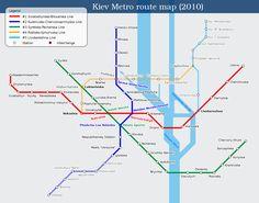 Mappa della metropolitana di Kiev Alta risoluzione Conosciuta come Киевское метро, è la terza metropolitana costruita nell'URSS dopo quella di Mosca eppure Leningrado. Questo metrò trasporta quotidianamente 1.400.000 viaggiatori (oltre il 40% della sua popolazione), nel 2010 ha superato i 500 milioni di passeggeri all'anno. È gestito dalla Kyivskyi Metropoliten e la prima delle sue linee è stata inaugurato nel 1960.