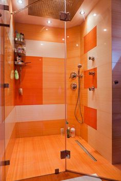Orange bathroom  Love the graphic look of the different tiles Shirtless Jordan Davies in outside shower   Just the colour Orange  . Orange Bathroom Tile Ideas. Home Design Ideas