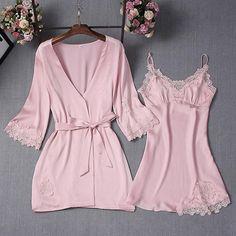 Ladies Home Clothing Satin Nightwear Sets Women Pajamas Robe Nightgowns  2018 Sexy Bathrobe Nighties Dress Sleepwear d48a1128c