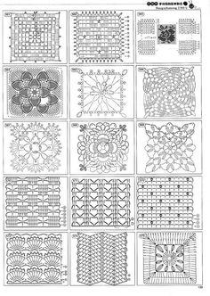 from Crochet motivos y patrones Crochet Motif Patterns, Granny Square Crochet Pattern, Crochet Blocks, Crochet Diagram, Square Patterns, Crochet Chart, Crochet Squares, Love Crochet, Crochet Granny
