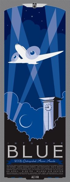 A poster invitation created for University of Memphis' Distinguished Alumni Awards -- Love the 1920s/Art Deco/Travel Poster feel