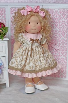 Easter Bunny Toile dress for 18 inch doll