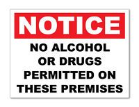 2 X NO ALCOHOL OR DRUGS- WARNING STICKER - HEALTH & SAFETY SIGNS BUSINESS