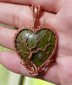 Copper wire wrapped, Epidote in Quartz heart cabochon, tree of life pendant by Lepidus Plasmatio