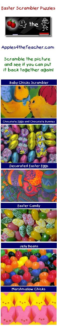 Easter Scrambler Puzzles - Interactive puzzles of Easter celebrations and treats.