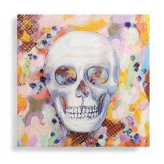 Happy Go Spooky Skull Canvas   Grandin Road