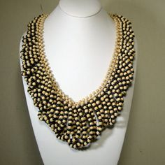 Fringed Looped Necklace Black and Tan Wood by VintageStarrBeads, $22.00