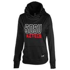 Under Armour SDSU Aztecs Hoodie Women's semi-fitted Under Armour performance sweatshirt with drawstring hood and front pouch pocket, featuring SDSU Aztecs screen printed across the chest. $65