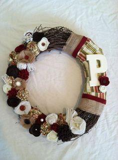Felt flower wreath, burlap wreath, monogram wreath, fabric flower wreath,  grapevine wreath, neutral wreath on Etsy, $38.00