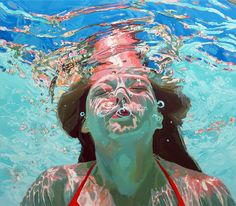 Beneath the Surface: Sublime Underwater Portraits by Samantha French swimming portraits painting Figure Painting, Painting & Drawing, Painting Studio, Figurative Kunst, Underwater Painting, Colossal Art, Oeuvre D'art, Oil On Canvas, Illustration