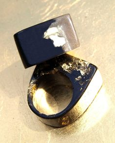 Modern Design Resin Ring Black White & Gold by ResinHeavenUSA, $30.00