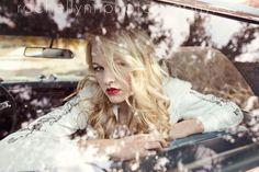 Through the glass #blonde hair, #vintage car, #red lipstick