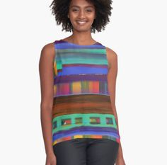 Santa Fe Sunset Contrast Tank from RedBubble with artwork from Susan Phillips Hicks of Melasdesign.