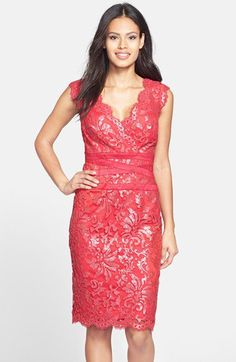 Tadashi Shoji Embellished Metallic Lace Sheath Dress (Regular & Petite) | Nordstrom