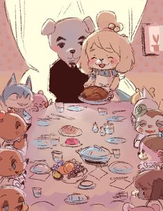 Here is a rockwell inspired animal crossing piece I did to burn off my thanksgiving meal! Animal Crossing Fan Art, Animal Crossing Memes, Animal Crossing Pocket Camp, Fossil Hunting, Like Animals, New Leaf, My Animal, Game Art, My Idol