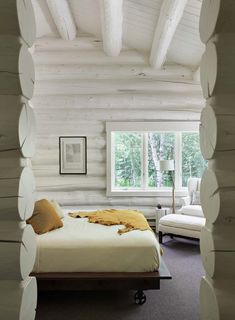 Rustic log house gets a dreamy transformation in Jackson Hole Check out how logs look painted! Log Cabin Bedrooms, Log Cabin Homes, Diy Log Cabin, Guest Bedrooms, Contemporary Bedroom, Modern Bedroom, Contemporary Cabin, Bedroom Neutral, Trendy Bedroom