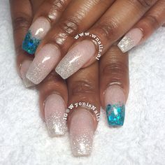 """Blushed Diamonds & Teal"" ballerina (semi square) shaped acrylic nails with a teal glitter accent nail. Done with cover blush, Sea Spray, and teal glitter. Great look for brides & weddings that have color themes."