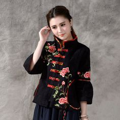 Vintage Autumn National Wind Style Chinese Plate Buttons Embroidery Women Coat Cotton Linen Clothing Ethnic Style Jacket