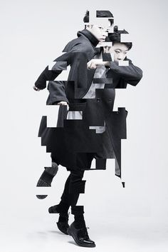 David Tran, this glitch image evolves cutting away from two images merged. Taking away in a patterned shape of squares looks truly great and inspiring. Gfx Design, Design Art, Photomontage, Deconstructivism, Plakat Design, Foto Fashion, Fashion Beauty, Marlon Teixeira, Glitch Art