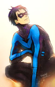 Nightwing smiling <3. Ugh he's so attractive.