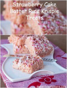 Strawberry Cake Batter Rice Krispie Treats
